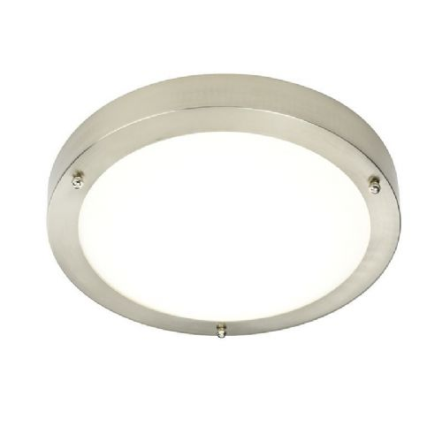LED Satin nickel effect plate & frosted glass Flush IP44 Bathroom Light 54675 by Endon
